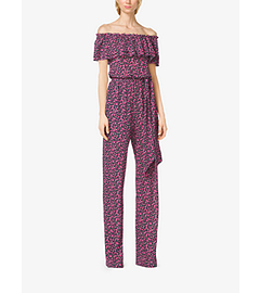 Gladiolus-Print Ruffled Silk-Georgette Jumpsuit by Michael Kors