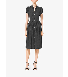 Polka-Dot Silk-Georgette Shirtdress by Michael Kors