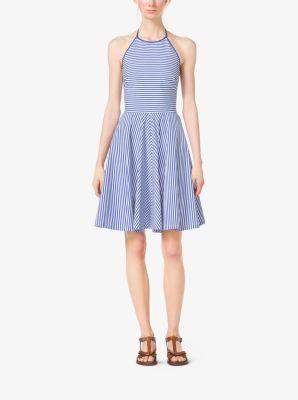 Striped Cotton-Poplin Halter Dress by Michael Kors