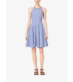 Striped Cotton-Poplin Halter Dress by Michael Kors