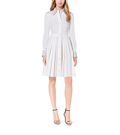 Crystal-Embellished Cotton-Poplin Shirtdress by Michael Kors