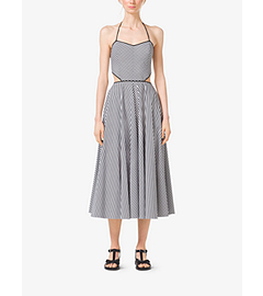 Striped Cotton-Poplin Cutout Halter Dress by Michael Kors