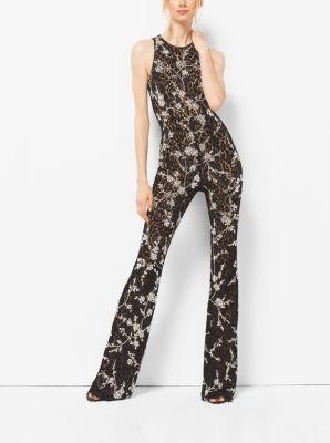 Crystal-Embroidered Floral Lace Flared Jumpsuit  by Michael Kors