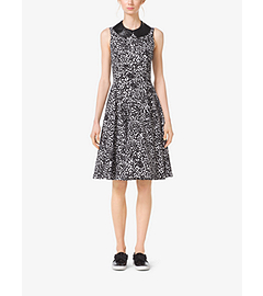 Abstract Dot Cotton-Matelassé Dress by Michael Kors