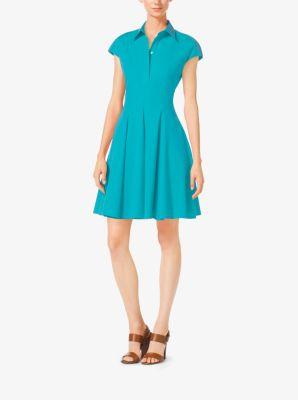 Cap-Sleeve Cotton-Poplin Dress by Michael Kors