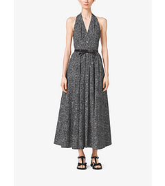 Crosshatch-Print Cotton-Poplin Halter Dress by Michael Kors