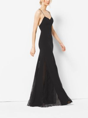 Stretch Wool-Crepe and Chantilly Lace Slip Gown by Michael Kors
