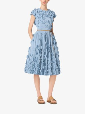 Floral-Embroidered Silk-Faille Dress by Michael Kors