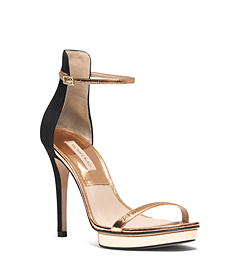 Doris Metallic Leather and Suede Sandal