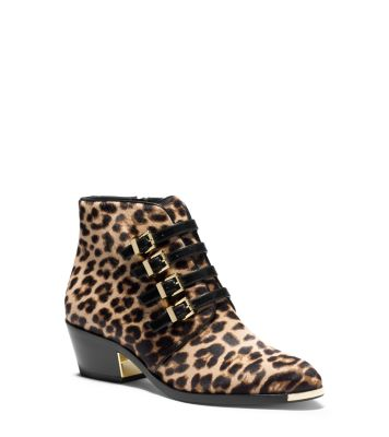 Peggie Buckle Leopard Hair Calf Ankle Boot