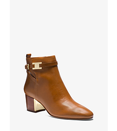 Yves Logo Plaque Leather Ankle Boot