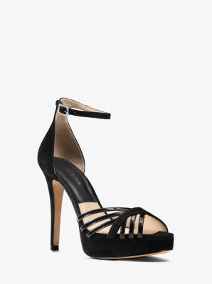 Kinsley Patent-Leather and Suede Platform Sandal by Michael Kors