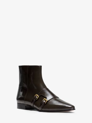 Laura Monk-Strap Patent-Leather Ankle Boot by Michael Kors