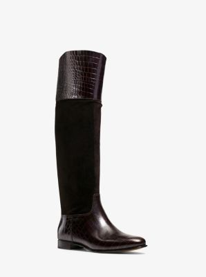 Rooney Embossed-Leather and Suede Boot by Michael Kors