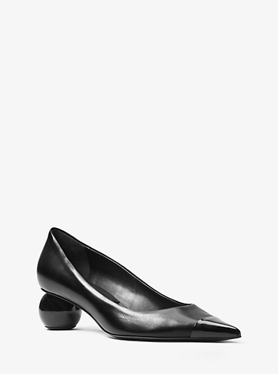 Bee Calf and Patent Leather Pump by Michael Kors