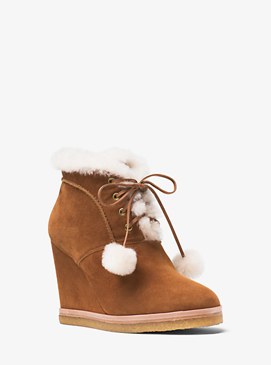 Chadwick Suede and Shearling Wedge Boot by Michael Kors