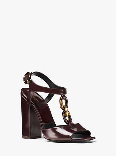 Malone Leather and Chain-Link Sandal by Michael Kors