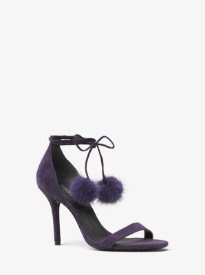 Rosemary Suede and Mink Pom-Pom Sandal by Michael Kors