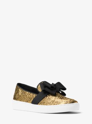 Val Metallic Brocade Bow Slip-On Sneaker  by Michael Kors