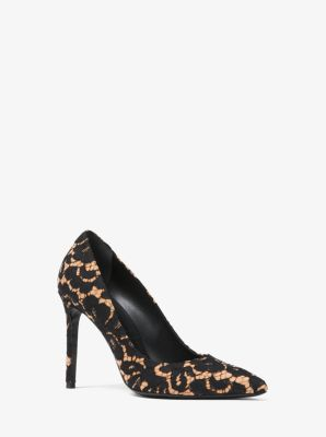 마이클 코어스 펌프스 Michael Kors Gretel Floral Lace and Suede Pump,BLACK/SUNTAN