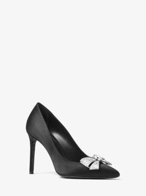 Michael Kors Gretel Crystal-Bow Satin Pump,BLACK