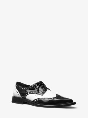 마이클 코어스 옥스포드화 Michael Kors Mullens Spazzolato Leather Oxford,WHITE/BLACK