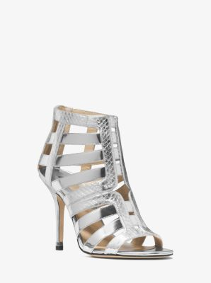 Caleb Metallic Leather and Snakeskin Sandal by Michael Kors