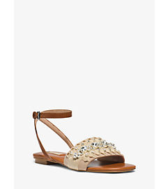 Hadden Embellished-Rope and Leather Sandal by Michael Kors
