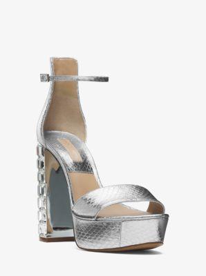 Nikki Metallic Snakeskin Platform Sandal by Michael Kors