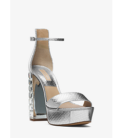 Nikki Metallic Snakeskin Platform Sandal