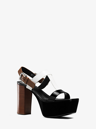 Denise Leather Platform Sandal  by Michael Kors