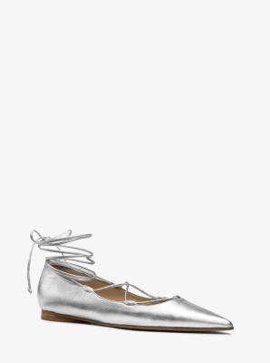 Kallie Metallic Leather Flat  by Michael Kors