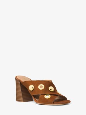 Brianna Grommeted Suede Mule by Michael Kors
