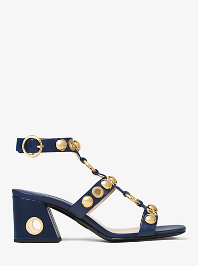 Kat Embellished Leather Sandal by Michael Kors