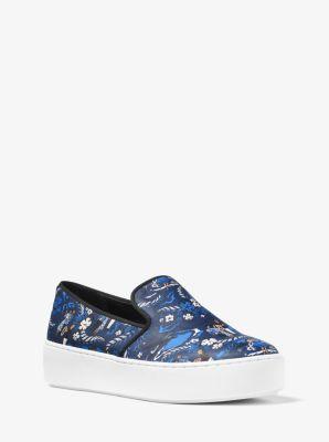 마이클 코어스 슬립온 Michael Kors Janelle Tropical Welcome Print Leather Slip-On Sneaker,SAPPHIRE