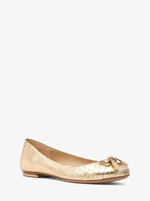 Michael Kors Pearl Metallic Python-Embossed Leather Ballet Flat,PALE GOLD