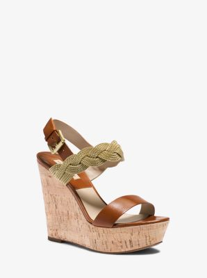Amelia Chain and Leather Platform Wedge by Michael Kors