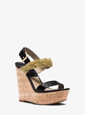 Amelia Snakeskin Wedge Sandal by Michael Kors