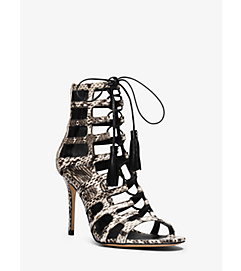 Bardot Snakeskin Stiletto Sandal by Michael Kors