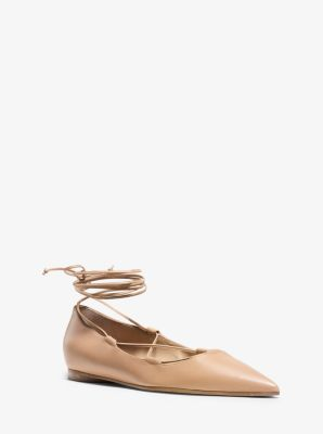 Kallie Leather Lace-Up Flat by Michael Kors