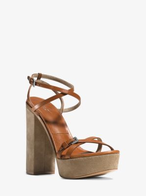 Alma Runway Leather and Suede Sandal  by Michael Kors