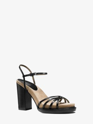Raina Vachetta Leather and Suede Platform Sandal by Michael Kors