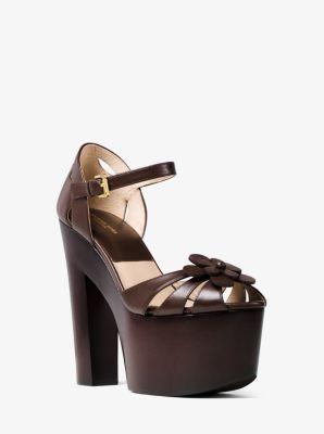 Genevieve Floral Leather Platform Sandal by Michael Kors