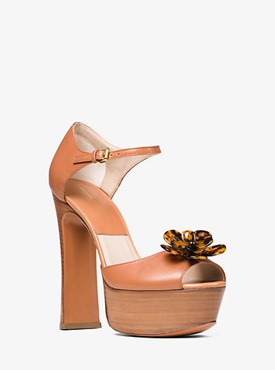 Pembrey Floral Leather Platform Sandal by Michael Kors
