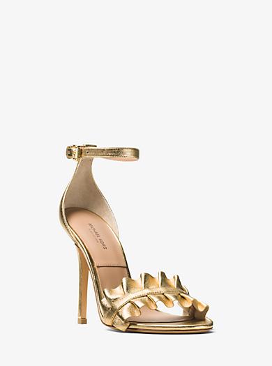 Priscilla Metallic Leather Sandal by Michael Kors