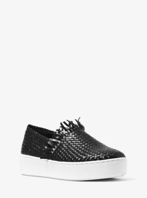 마이클 코어스 스니커즈 Michael Kors Rae Woven Leather Slip-On Sneaker,BLACK