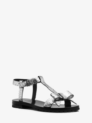 Fiona Runway Crackled Metallic Leather Sandal by Michael Kors
