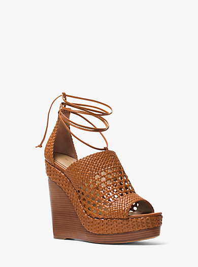 Angela Woven Leather Wedge by Michael Kors