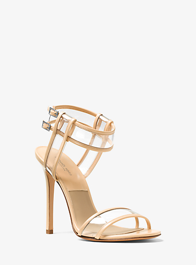 Brittany Runway Leather and Vinyl Sandal  by Michael Kors