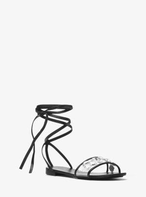 Mica Crystal-Embellished Leather Sandal  by Michael Kors